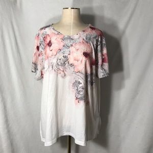 Alfred Dunner Short Sleeve Floral Top - Size 1X